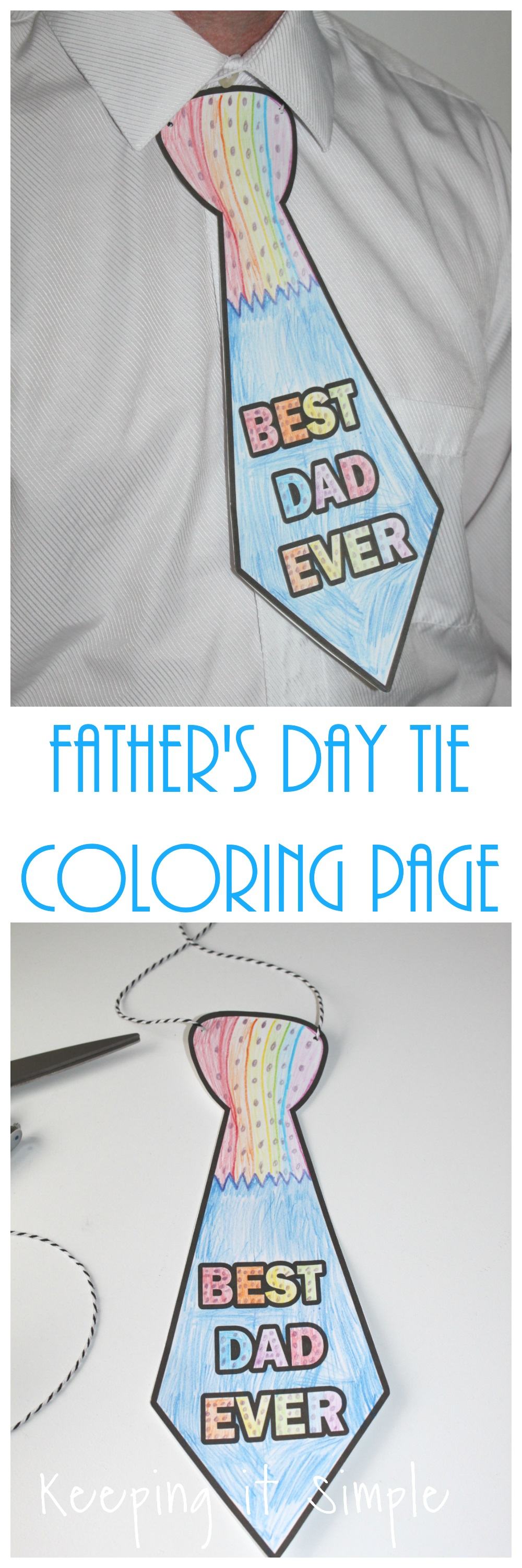 Father S Day Tie Coloring Page Printable Keeping It Simple