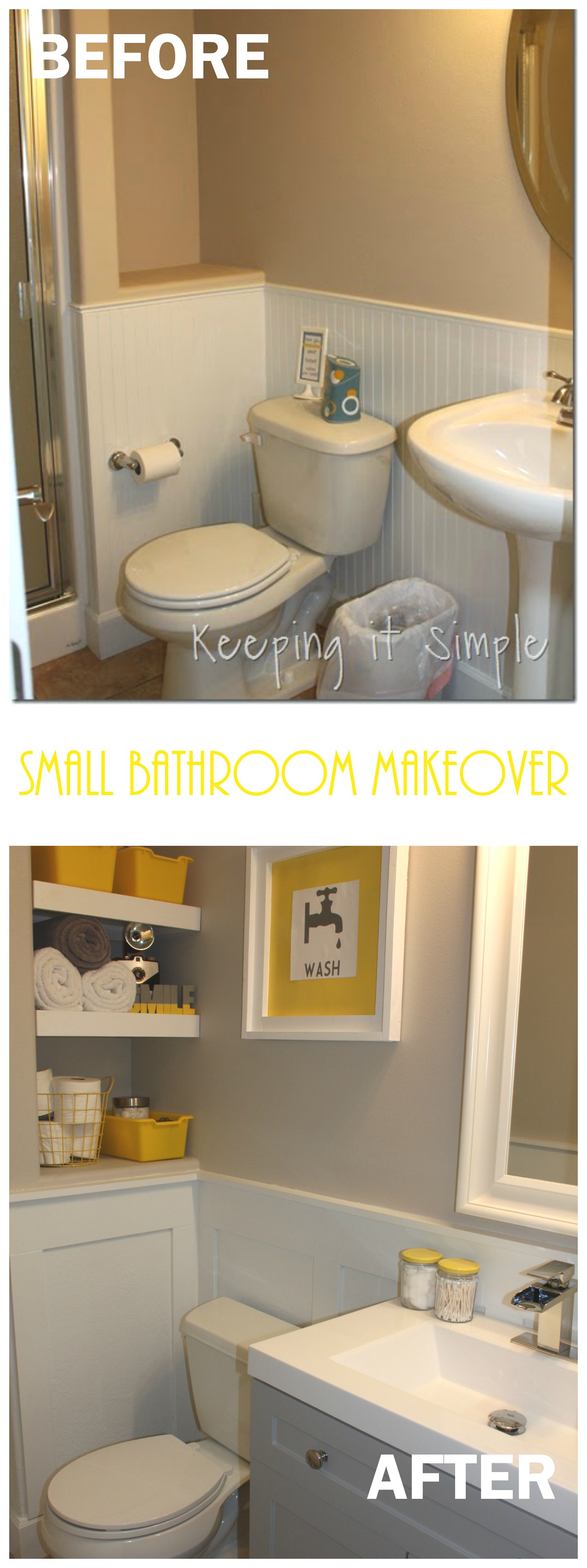 Small Bathroom Remodel Ideas Shelves With Board And Batten Keeping It Simple