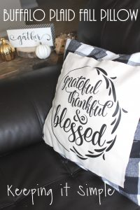 Buffalo Plaid Fall Pillow- Grateful, Thankful and Blessed