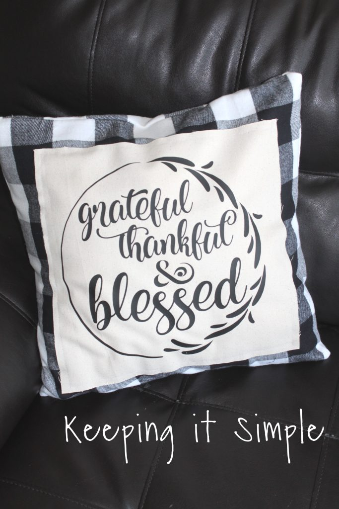 Buffalo Plaid Fall Pillow Grateful Thankful And Blessed