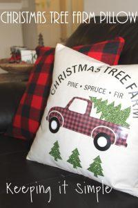Red Buffalo Plaid Christmas Tree Farm Pillow