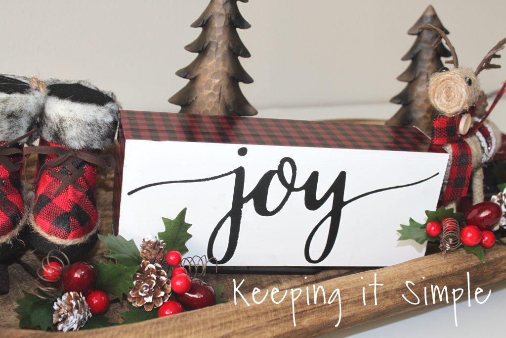 Red Buffalo Plaid Christmas Joy Block • Keeping it Simple