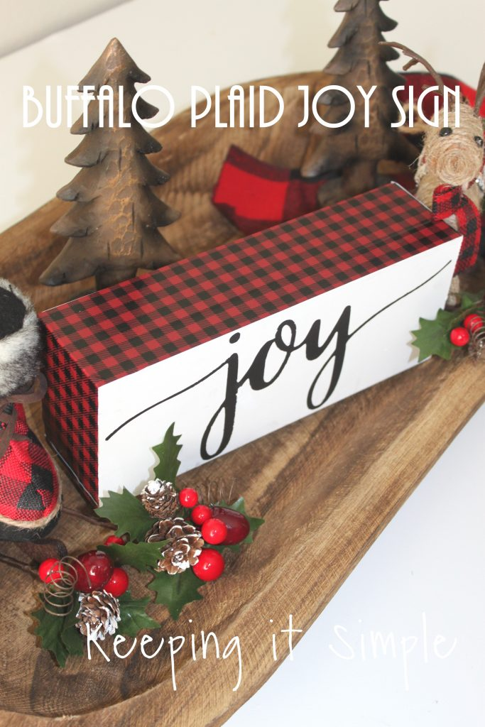 this red buffalo plaid christmas joy block is super easy to make and looks amazing with lots of other fun christmas decor