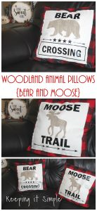 Woodland Animal Pillows Bear and Moose