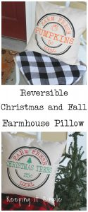 Reversible Christmas and Fall Farmhouse Pillow