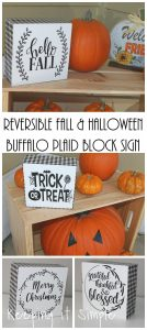 Reversible Fall and Halloween Sign- Buffalo Plaid Block Sign