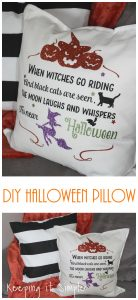 DIY Halloween Pillow with Glitter Heat Transfer Vinyl