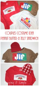 Last Minute Couples Costume- Peanut Butter and Jelly Sandwich