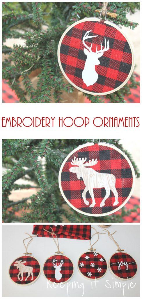 Buffalo Check Christmas Ornaments.Buffalo Plaid Embroidery Hoop Ornaments Keeping It Simple