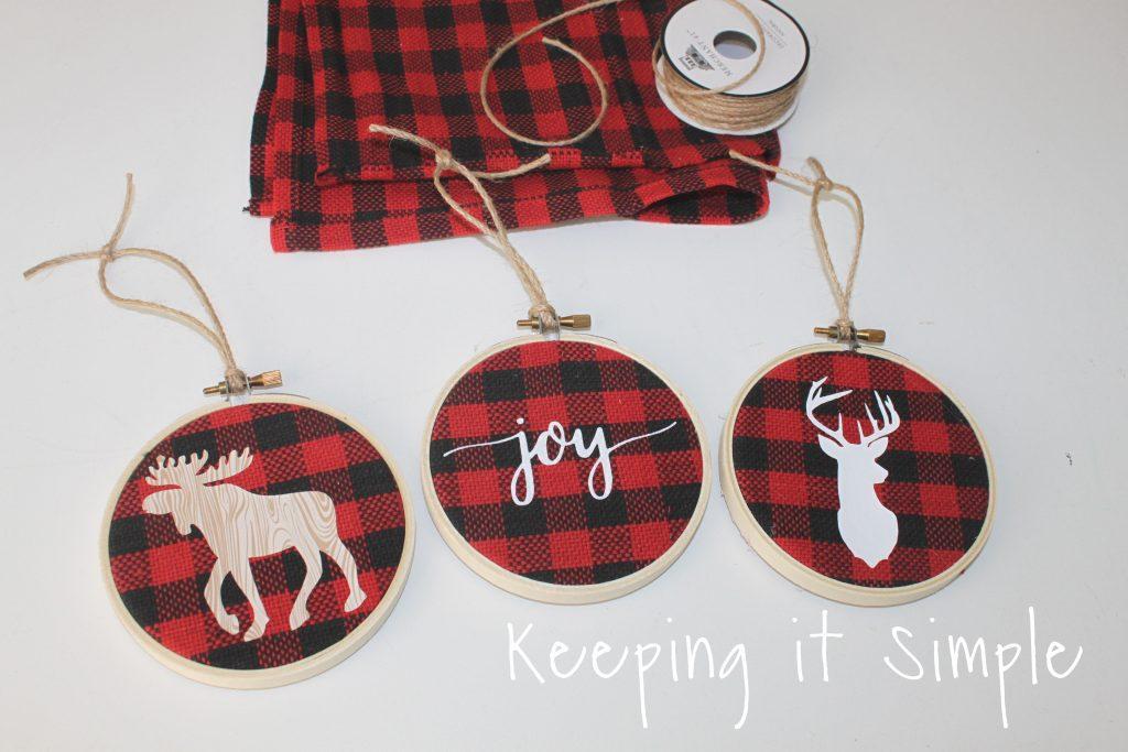 Buffalo Plaid Embroidery Hoop Ornaments • Keeping it Simple