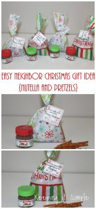 Easy Neighbor Christmas Gift Idea- Nutella and Pretzels with Printable