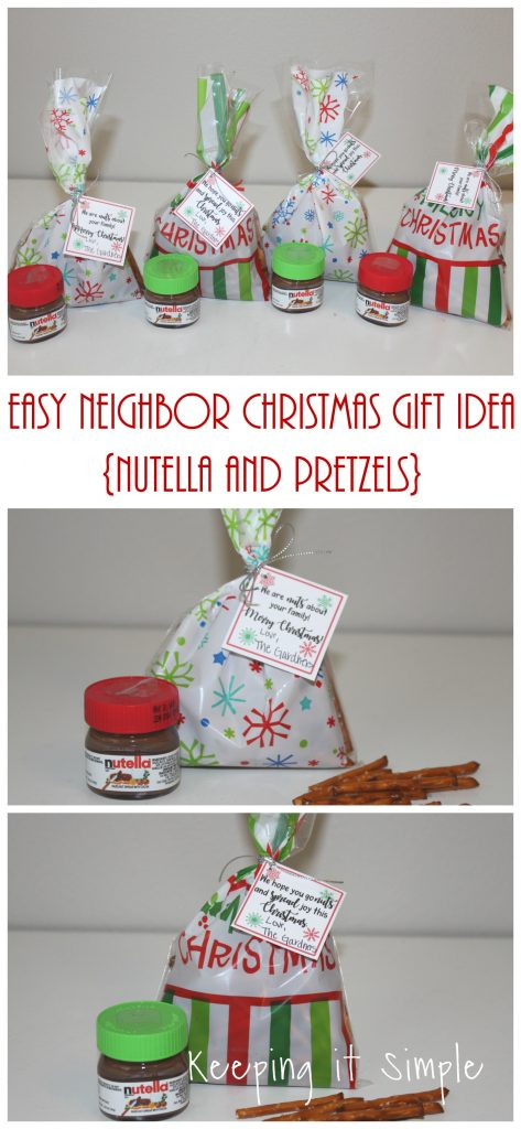 image about We Wash You a Merry Christmas Free Printable referred to as Basic Neighbor Xmas Reward Notion- Nutella and Pretzels with