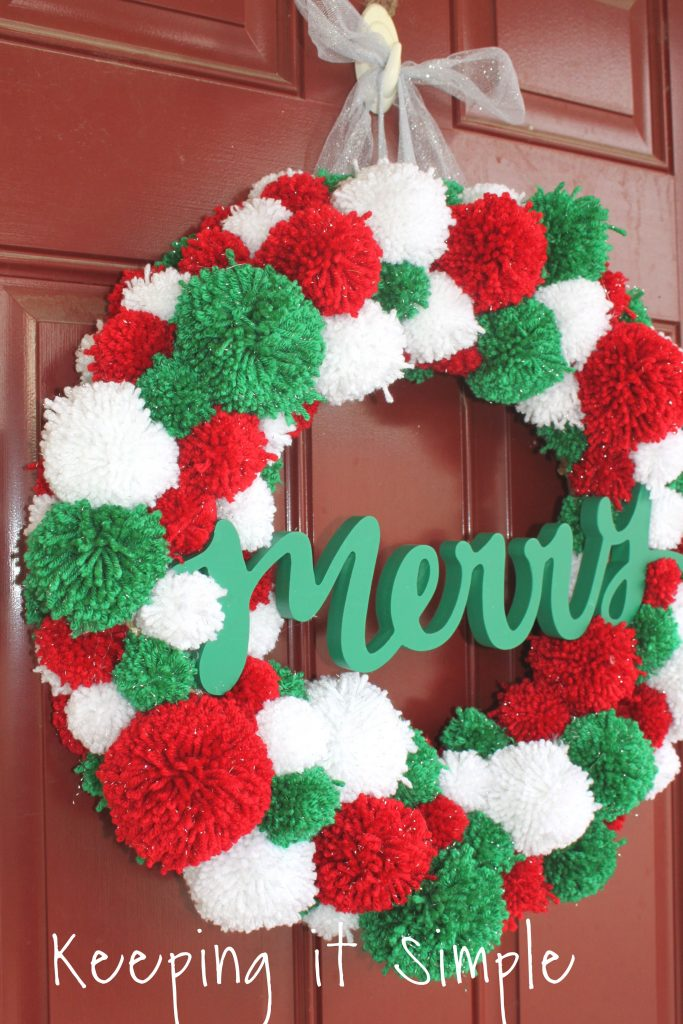 Diy Christmas Pom Pom Wreath How To Make Pom Poms Keeping It Simple