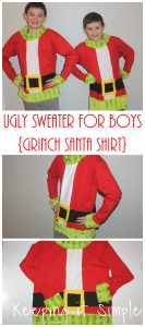 Christmas Ugly Sweater for Boys- Grinch Santa Shirt