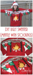 DIY Christmas Ugly Sweater- Mantle with Stockings