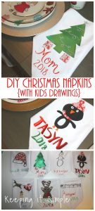 DIY Christmas Napkins using Kids Drawings