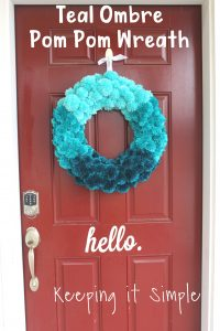 DIY Teal Ombre Pom Pom Wreath