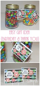 Activity Days Birthday Gift Idea- Candy Jars with Floral Tag