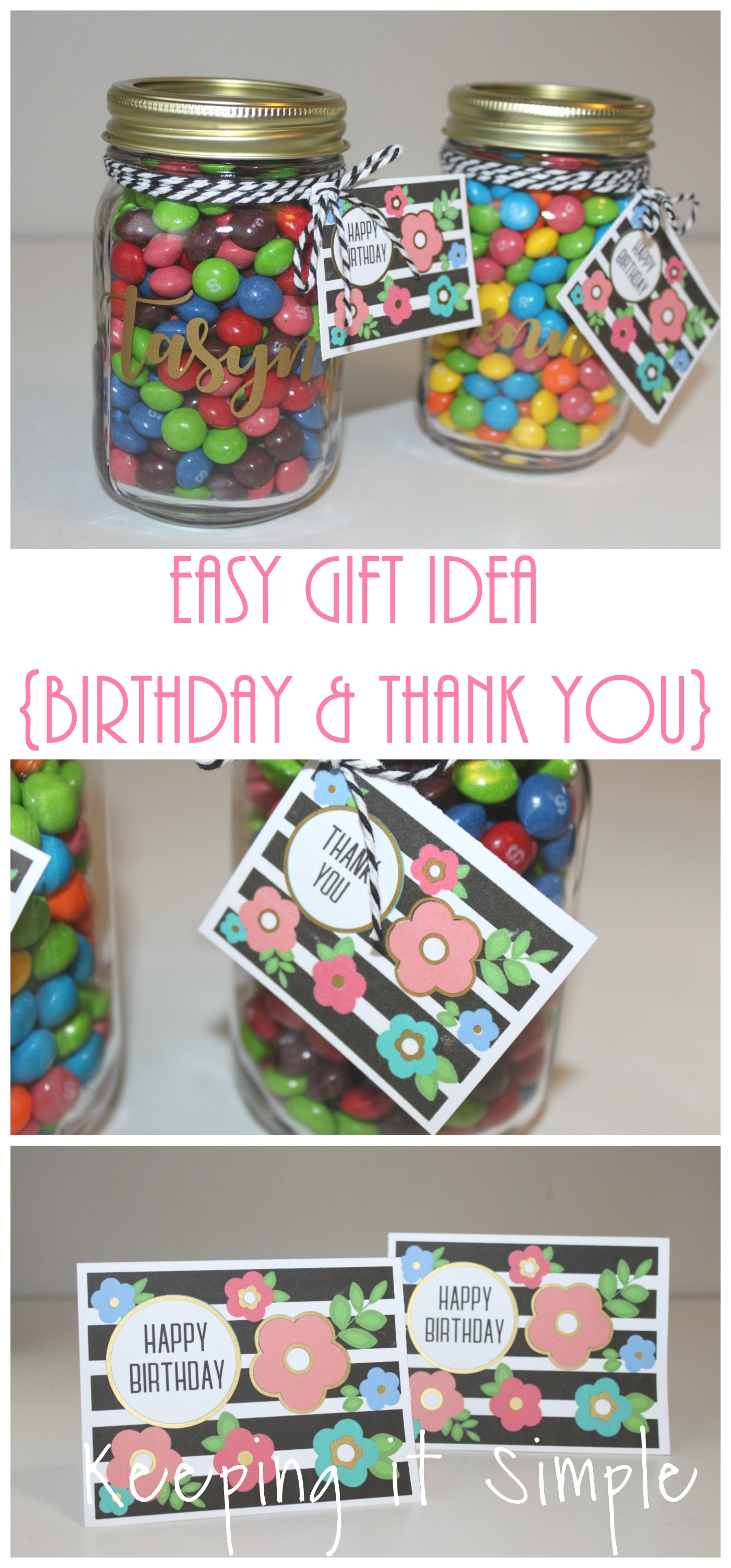 Activity Days Birthday Gift Idea Candy Jars With Floral Tag
