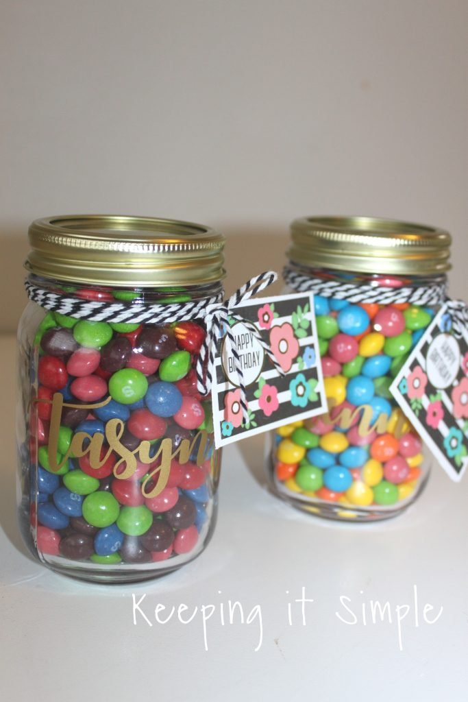 Here Is A Close Up Of The Name In Vinyl Candy Jar And Skittles I Know That Girls Are Going To Love Them