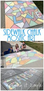 Sidewalk Chalk Mosaic Art with Words and Shapes