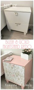 Blush and Gold Nightstand Makeover